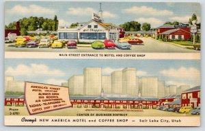 Salt Lake City Utah~Covey's Motel & Coffee Shop~Main Entrance~Downtown~1940s