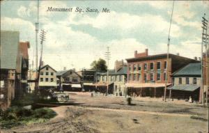 Saco ME Monument Square c1910 Postcard