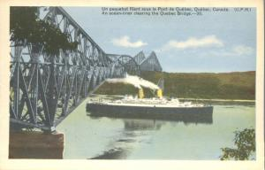 Ocean Liner - Ship - Steamer passing Quebec Bridge - St Lawrence River, Canada