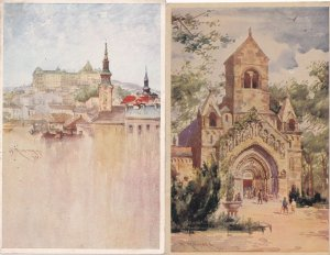 Budapest Royal Palace Church Of Jak 2x Old Painting Postcard s