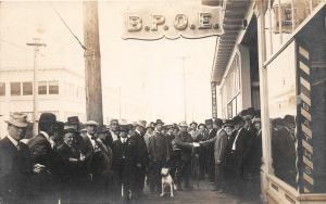 F25/ Wolf Creek Oregon RPPC Postcard 1915 B.P.O.E. Elks Members Dog