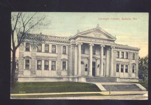 SEDALIA MISSOURI CARNEGIE LIBRARY 1911 MO. ANTIQUE VINTAGE POSTCARD