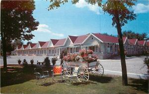 London Ontario~Wagon With Flowers in Front of White Village Motel 1950s