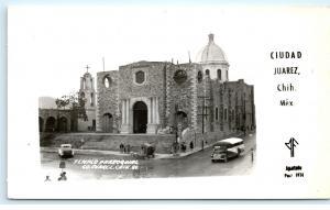 *Templo Parroguial Juarez Chih Mexico Old Bus Vintage Photo Postcard C40