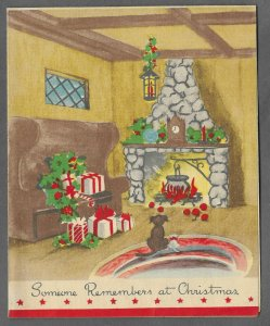 VINTAGE 1940s WWII ERA Christmas Greeting Holiday Card DOG GIFTS & FIREPLACE