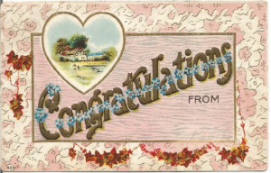Congratulations Forget-me-Nots Ivy swags Heart with Cottage Scene People by Pond