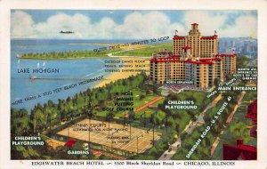 Edgewater Beach Hotel, Chicago, Illinois, Early Postcard, Unused