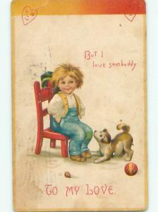 Pre-Linen Valentine signed CLAPSADDLE - CURIOUS DOG WATCHES BOY ON CHAIR AB2838
