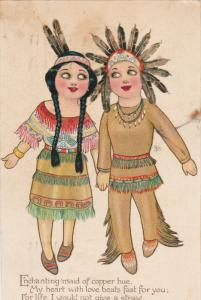 TUCK #104; Native Americans: Girl and Boy, Poem, PU-1909