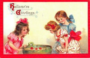 1911 Halloween Embossed Frances Brundage Bobbing Apples #120 Postcard