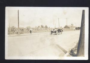 RPPC ANTIQUE AUTO CAR TO BUCHANAN MICHIGAN OLD REAL PHOTO POSTCARD