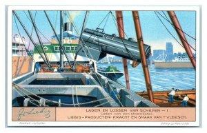 1932 Steam Boiler Floating Trestle, Loading Ships, Liebig Belgian Trade Card