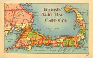 Tourist Auto Map of Cape Cod unused linen Postcard
