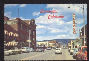 DURANGO COLORADO VOLKSWAGEN 1960's CARS DOWNTOWN STREET OLD POSTCARD