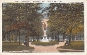 Indianapolis Indiana~University Park~Colfax Monument~People on Benches~1922 Pc