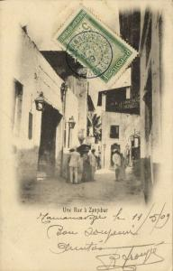 tanzania, ZANZIBAR, Street Scene (1909) Postcard