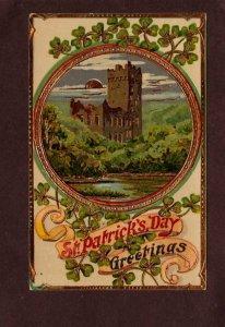 Greetings St Patrick's Day Postcard Castle Four leaf clover Carte Posta