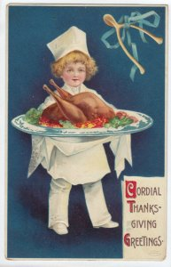 CLAPSADDLE, PU-1911; Cordial Thanksgiving Greetings, Child Chef bringing out coo
