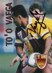 To'o Vaega West Samoa Auckland Rugby New Zealand Hand Signed Card Photo