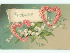 Pre-Linen valentine HEARTS MADE OF FLOWERS PLUS LILY OF THE VALLEY FLOWERS J1180