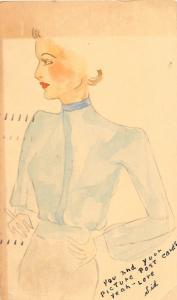 C27/ Hand-Drawn Woman Postcard 1937 Beautiful Dress Artistic Art