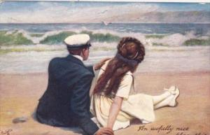 Couple On Beach To Busy To Write Series 1908 Tucks