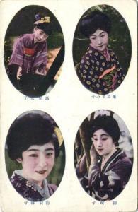 japan, Native GEISHA Ladies, Kimono, Multiview (1910s)
