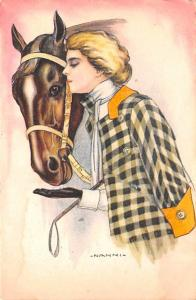 Woman and Horse, Nanni Pink Stain on back