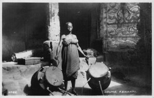 Ghana Gold Coast Drums Ashanti native Postcard