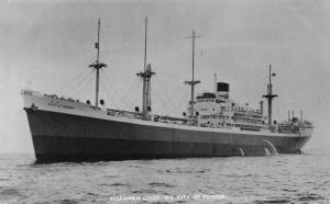 Ellerman Lines MV City of Poona ship Postcard