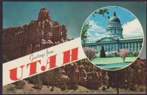 Greetings From Utah Postcard BIN