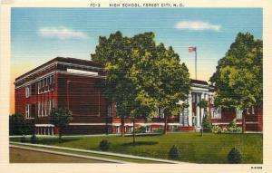 Forest City North Carolina~High School~1940s Postcard