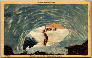 1940s RAINIER NATIONAL PARK Wash. Postcard ICE CAVE at Paradise Glacier Linen