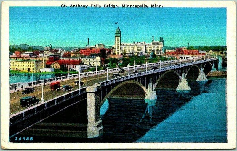 Minneapolis, Minn. Postcard St. Anthony Falls Bridge Mississippi River c1930s