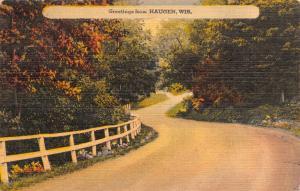 Haugen Wisconsin~Curved Road Past Autumn Trees~Fish Plenty~1947 Linen Postcard