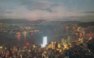 Aerial view, Night Scene, HONG KONG, China, 50-70's