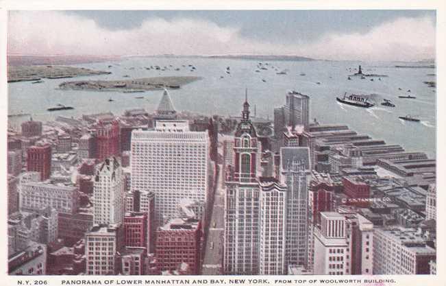 Panorama of Lower Manhattan and Harbor - New York City - WB