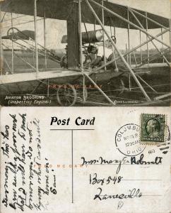 1910 Pioneer Aviation Postcard: Aviator Walter Brookins Inspects Biplane Engine