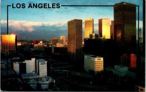 Los Angeles CA Harbor Freeway Aerial View downton Postcard used (14049)