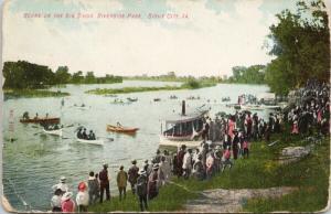 Big Sioux Riverside Park Sioux City IA Iowa Boats Postcard D82 *As Is