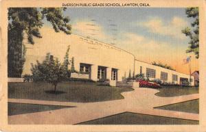 Lawton Oklahoma view of Emerson Public Grade School linen antique pc Y15739