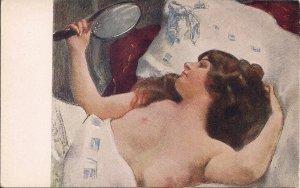 Beautiful Woman w Mirror, Nude, Poland ca. 1910, Topless, Artist Signed Okon