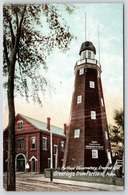 Portland Maine~Portland Observatory~Fire Department Station~Engine No 2~c1907