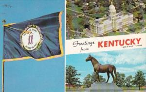 Greetings From Kentucky Showing State Flag State Capitol & Man O'War...