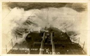 USS Florida. Heavy Seas - December 8, 1913.   *RPPC
