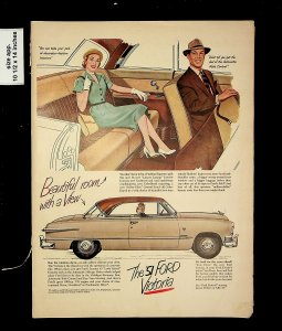 1951 Ford Victoria Couple Car Vintage Print Ad 015719