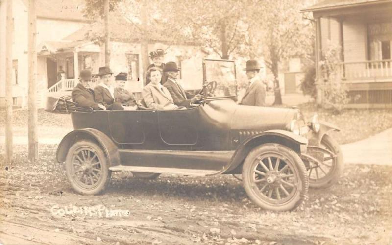 Men Driving Vintage Car Street Scene Real Photo Antique Postcard K28979