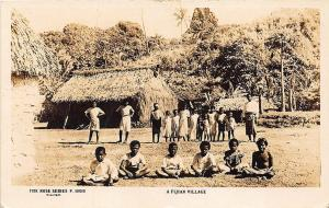 Fiji Island Village Children Real Photo RPPC Postcard