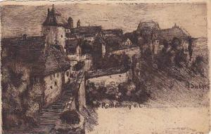 AS: Sketch of Rothenburg, Bavaria, Germany, A Siebert, 10-20s