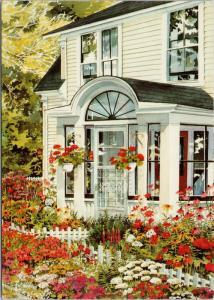 'House and Flowers' Joy Laking Art Repro Postcard D59